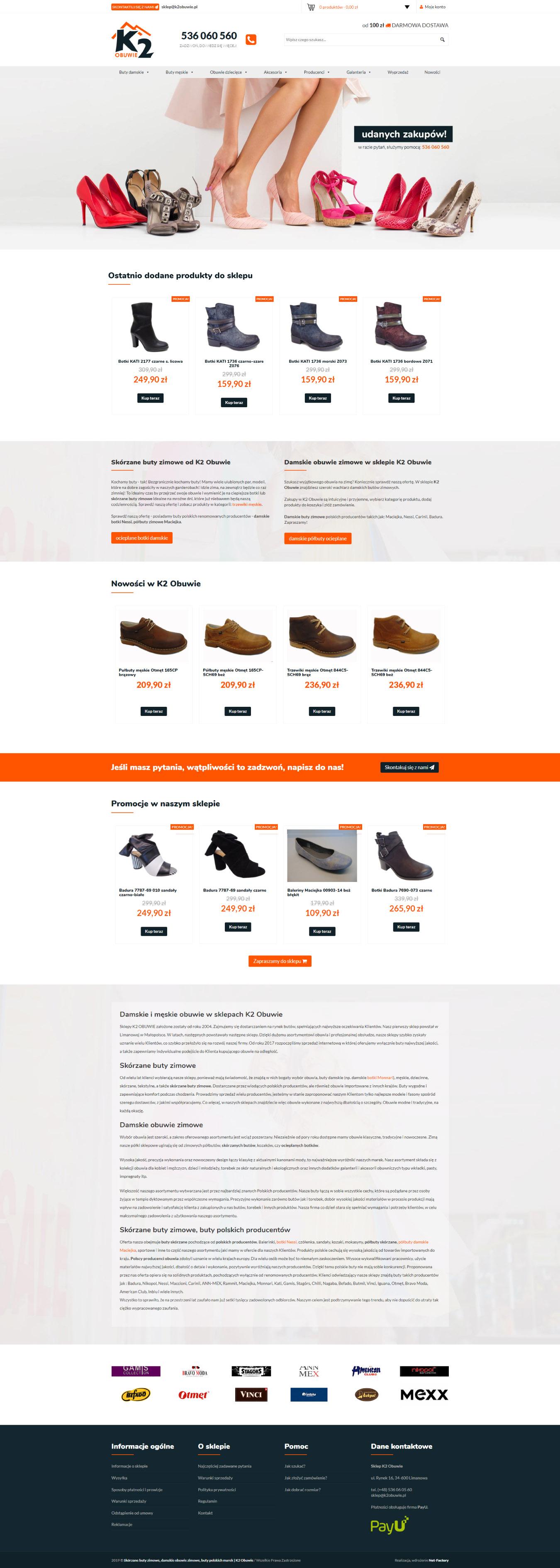 Realizacja sklepu online dla K2 Obuwie