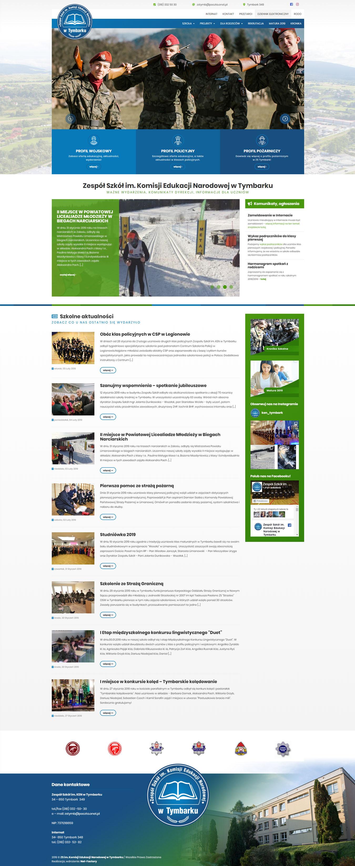 Kompleksowe odświeżenie strony internetowej dla ZS im. KEN w Tymbarku