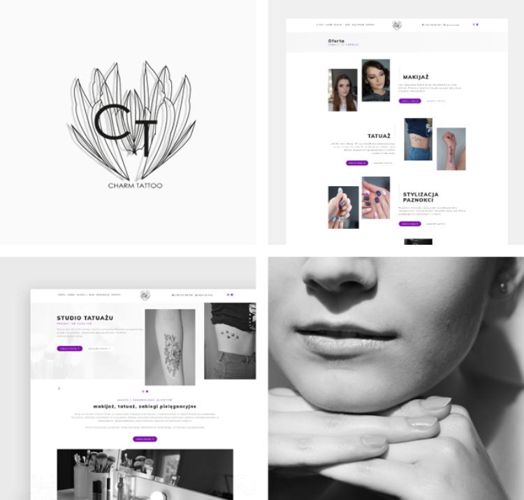 Responsywna strona internetowa dla Charm Tattoo, studia makijażu i tatuażu w Limanowej