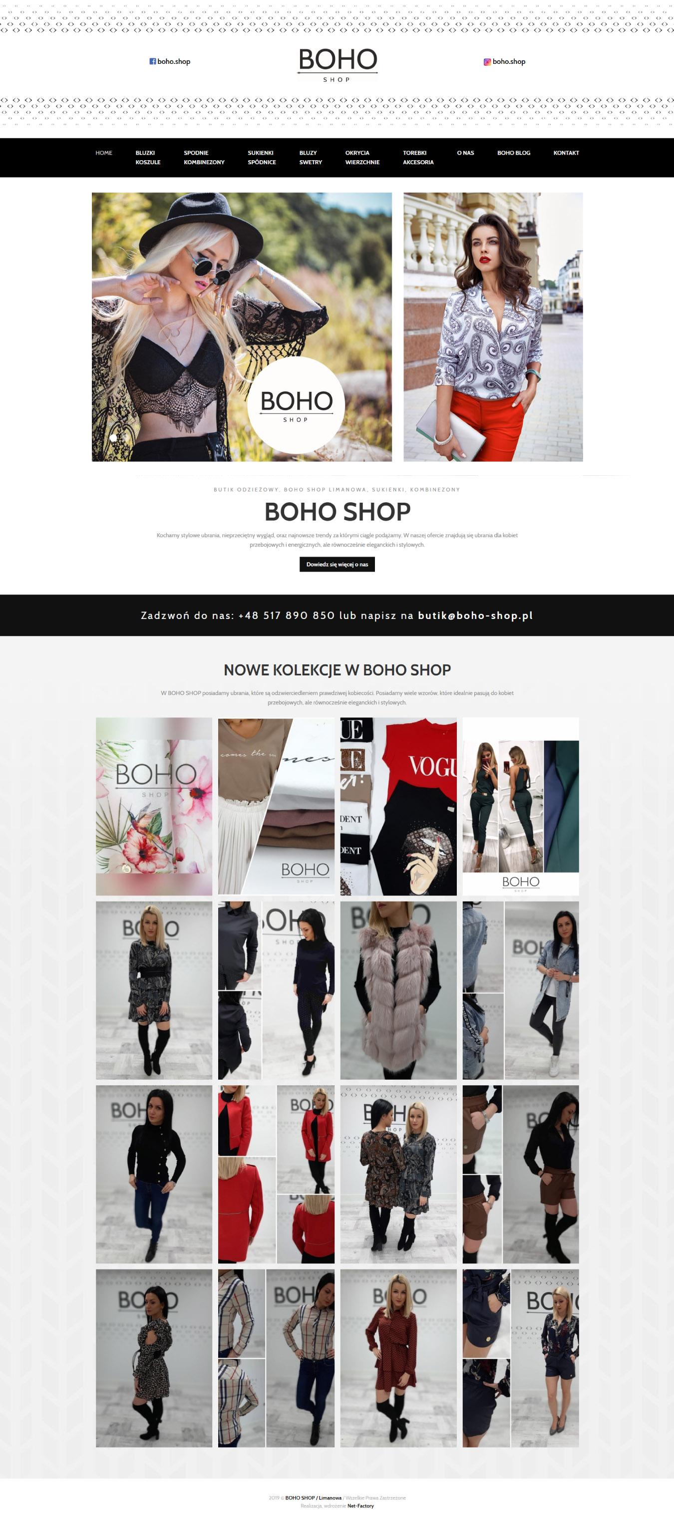 Strona internetowa dla Butiku Boho Shop w Limanowej