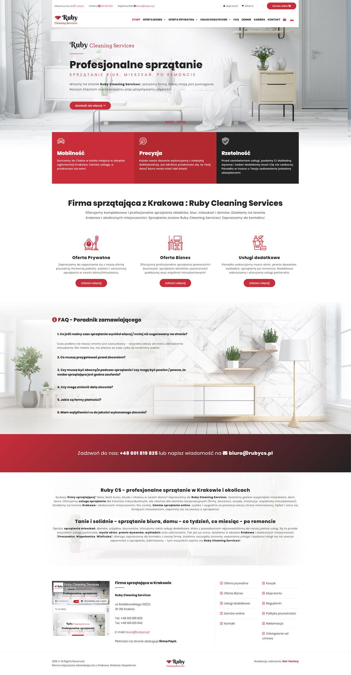 Responsywna strona sprzedażowa dla Ruby Cleaning Service firmy sprzątającej z Krakowa