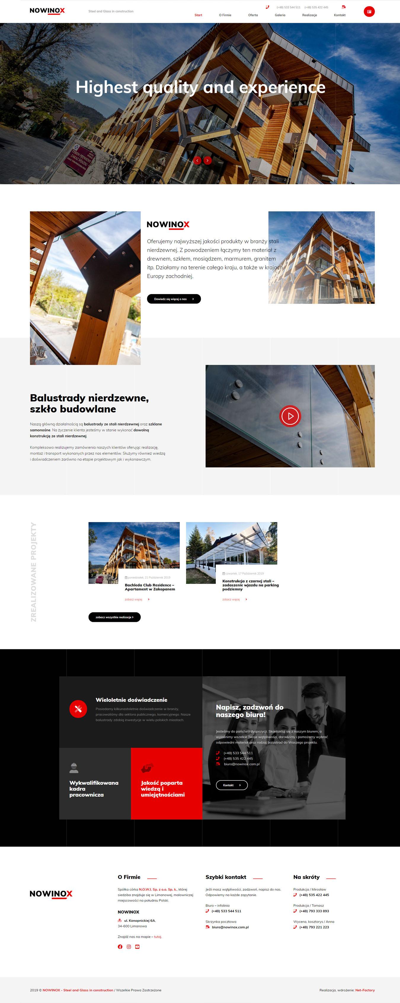 Strona internetowa dla NOWINOX