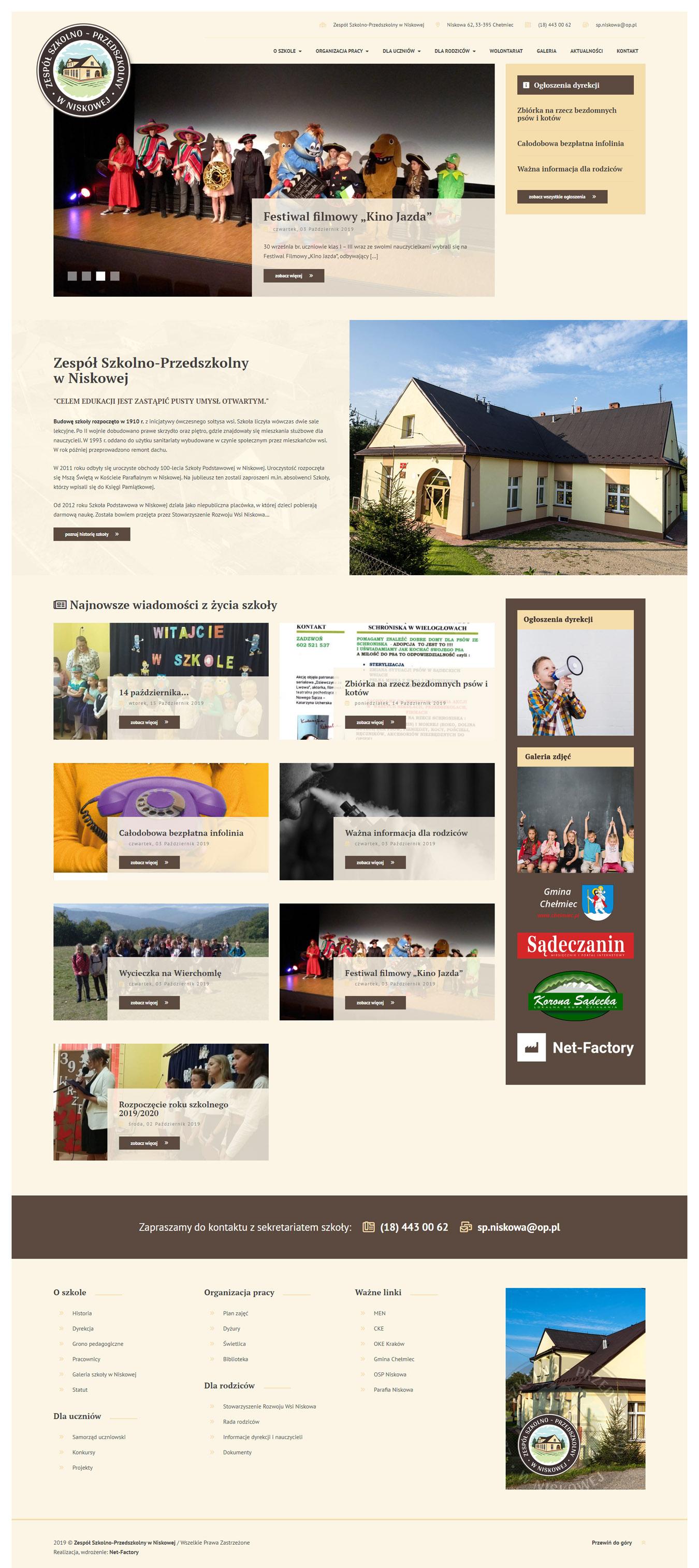 Witryna internetowa dla Szkoły Podstawowej w Niskowej
