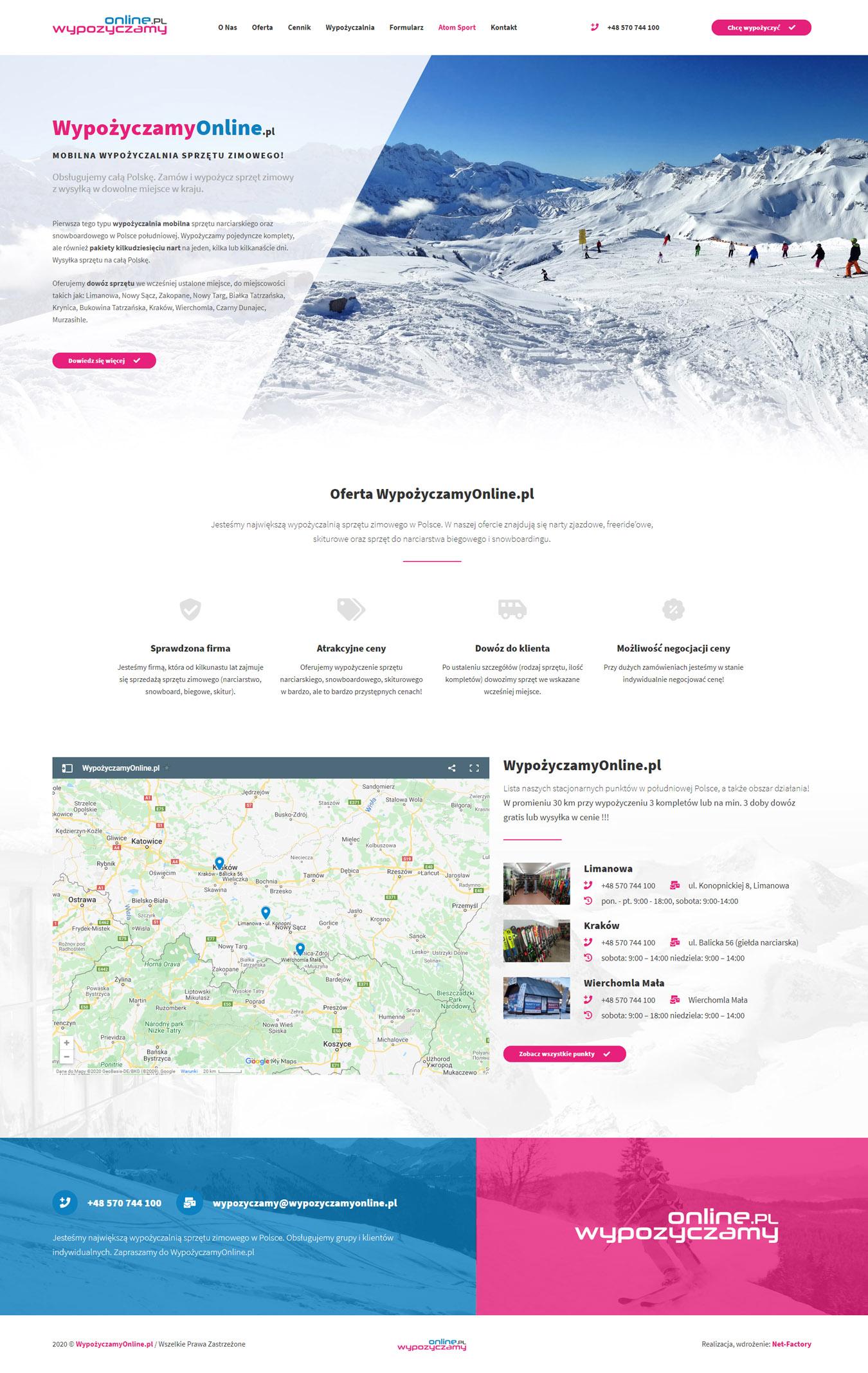 WypożyczamyOnline.pl – responsywna witryna mobilnej wypożyczalni sprzętu zimowego