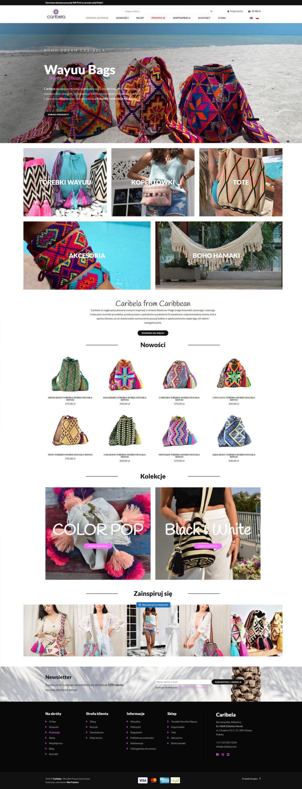 Sklep internetowy dla kolumbijskiej marki Caribela